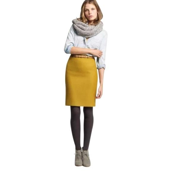 2d018c1168 J. Crew Skirts | J Crew Mustard Yellow Pencil Skirt Sz0 | Poshmark